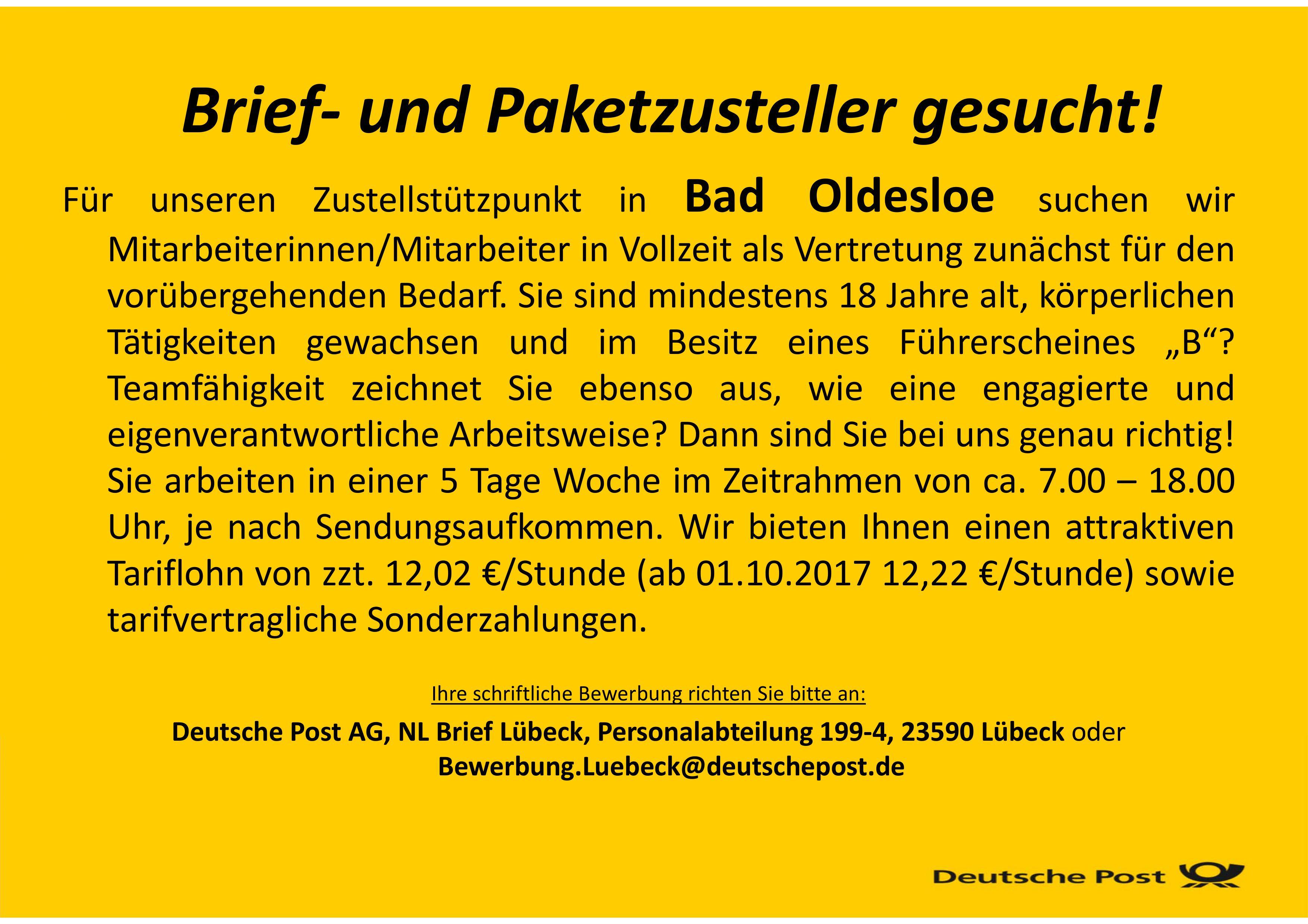 Deutsche Post Sucht Brief Und Paketzusteller Mw